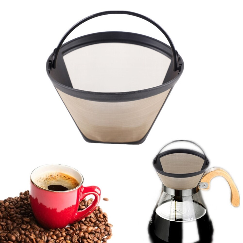 Washable Handle Coffee Filter Stainless Steel Reusable Coffee Filter Cone-Style Refillable Gold Mesh Cafe Maker Machine Tool