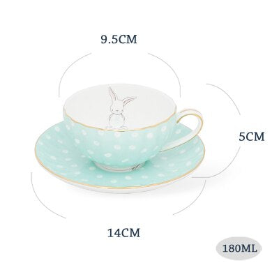 White Dots Little Rabbit Ceramic Bone China Coffee cup Saucer Set 180ml British Style Black Tea Milk