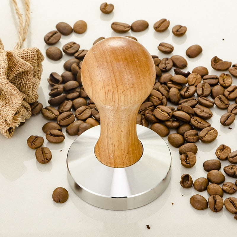 Wooden Coffee Tamper 58mm Barista Espresso Base Coffee Bean Press Stainless Steel Flat Base