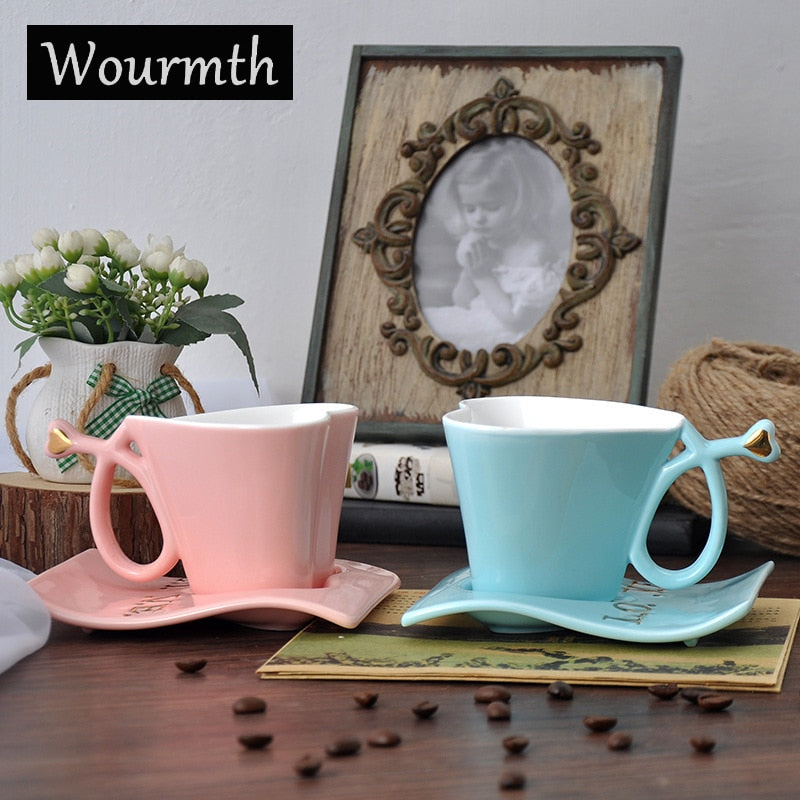 Wourmth Ceramic Cups And Saucers Blue and pink/set  Afternoon tea time Black Tea Set Heart-shaped