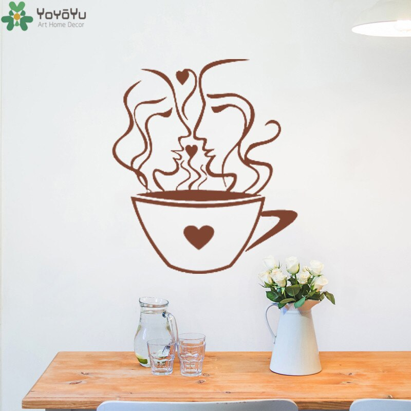 YOYOYU Wall Decal Cafe Window Interior Wall Stickers Cup Of Coffee Removable Kitchen Decals
