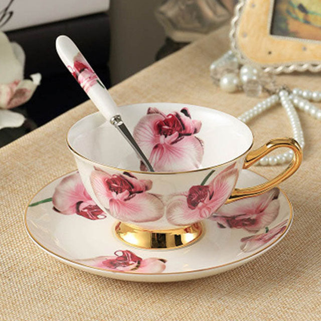 YeFine Ceramic Afternoon Black Tea Cups And Saucers Bone China Coffee Cup With Tray Porcelain