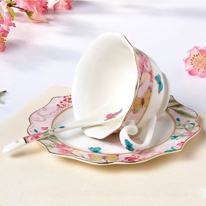 YeFine Ceramic Coffee Cup Set Bone China Drinkware Porcelain Tea Cups And Saucers Afternoon Tea