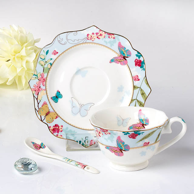 YeFine Ceramic Tea Cup And Saucer Set Designer Bone China Coffee Cup Porcelain Afternoon Black Tea