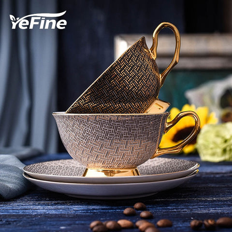 YeFine High Quality Porcelain Coffee Cups Vintage Ceramic Cups And Saucers Set Chinese Tea Cup