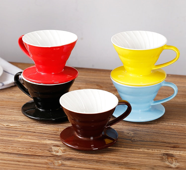 colorful Coffee Maker V60-01 screw thread inside Ceramic Coffee Dripper Coffee Brewer drip cup for 1-2 people