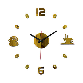DIY Wall Sticker Clock Europe Style Acrylic Mirror Surface Coffee Stickers Home