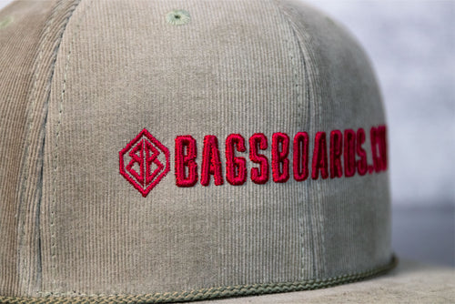 Olive and Maroon Corduroy snap back hat