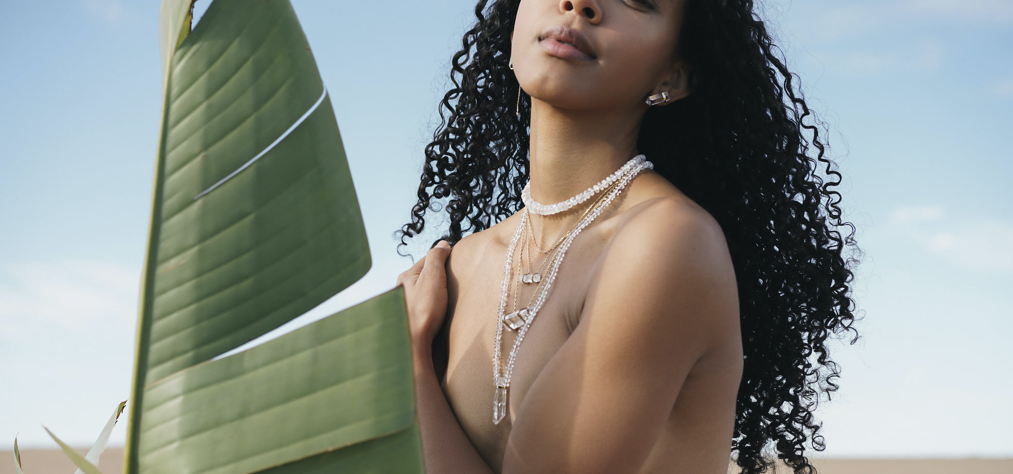 JIA JIA Crystalline Collection Crystal Quartz Necklace / Rainbow Moonstone Necklace Oracle Collection