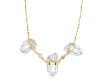 Triple Crystal Diamond Necklace