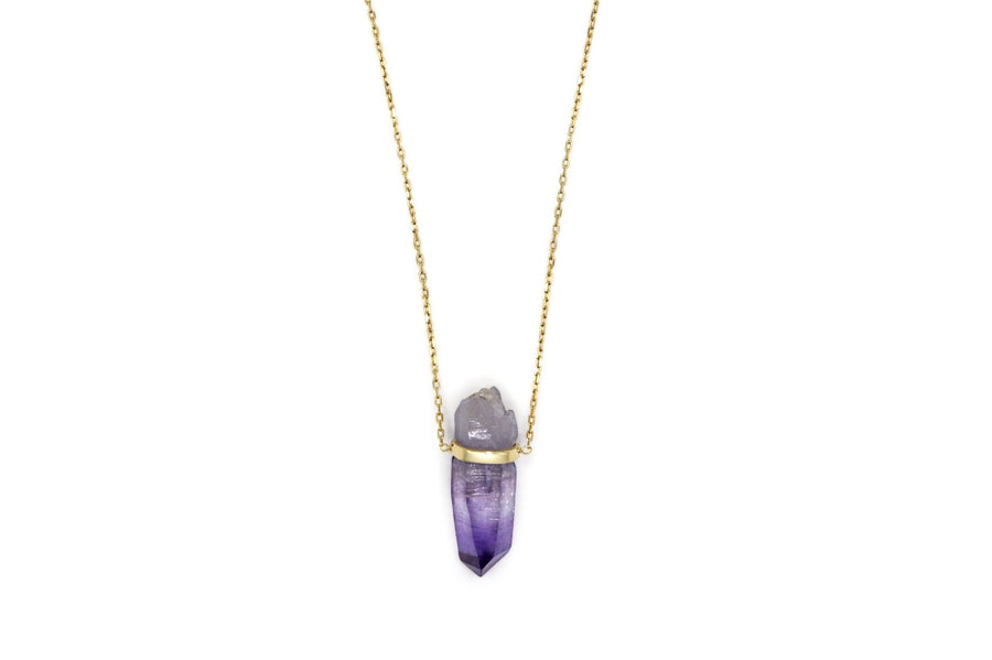 Veracruz Amethyst Gold Bar Necklace