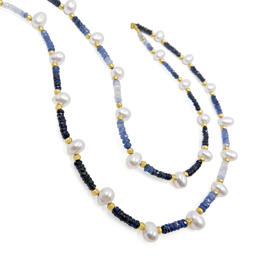 Arizona Blue Sapphire Pearl Long Necklace