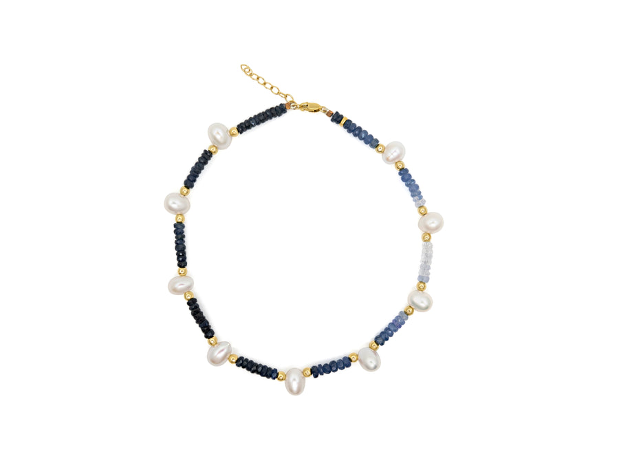 Arizona Blue Sapphire Pearl Gold Anklet