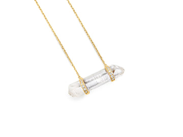 Crystal Quartz Double Diamond Necklace