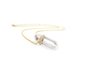 Crystal Quartz Diamond Necklace