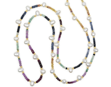 Arizona Rainbow Sapphire Pearl Long Necklace