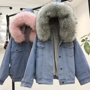 Women's Denim Jacket With Fur Hooded Warm Jackets