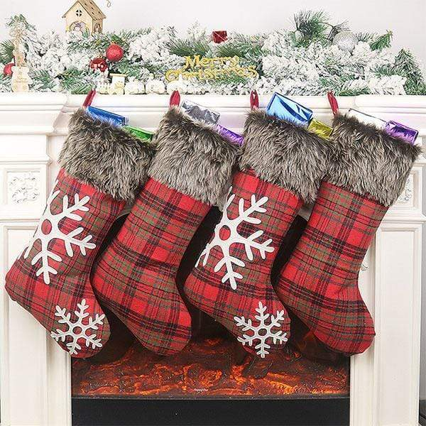 Plaid Plush Socks Christmas Pendant Gift Bag