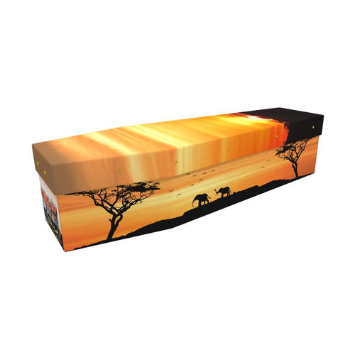 African Sunset Cardboard Coffin