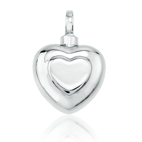 Silver Double Heart Cremation Pendant