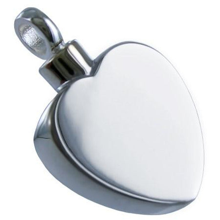 Silver Flat Heart Cremation Pendant