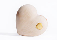 Load image into Gallery viewer, Wooden heart with Golden Heart