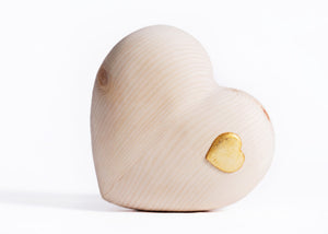 Wooden heart with Golden Heart