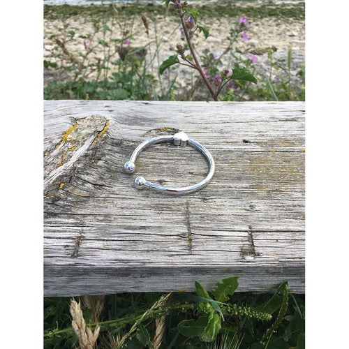 Ladies Sterling Silver Bangle with Heart