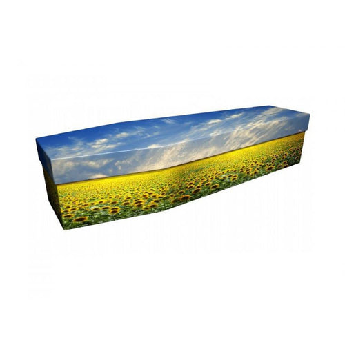 Sunflower Field Cardboard Coffin