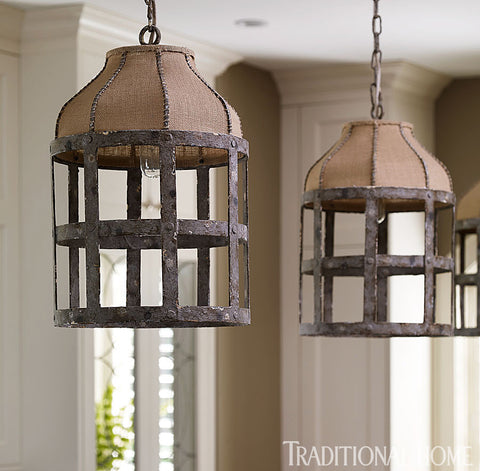 Spotted our lucia chandelier and other great pendants harvest these lights add a touch of rustic charm to a very refined kitchen space the nubby burlap and the distressed metal are an eye catching contrast to the aloadofball Choice Image