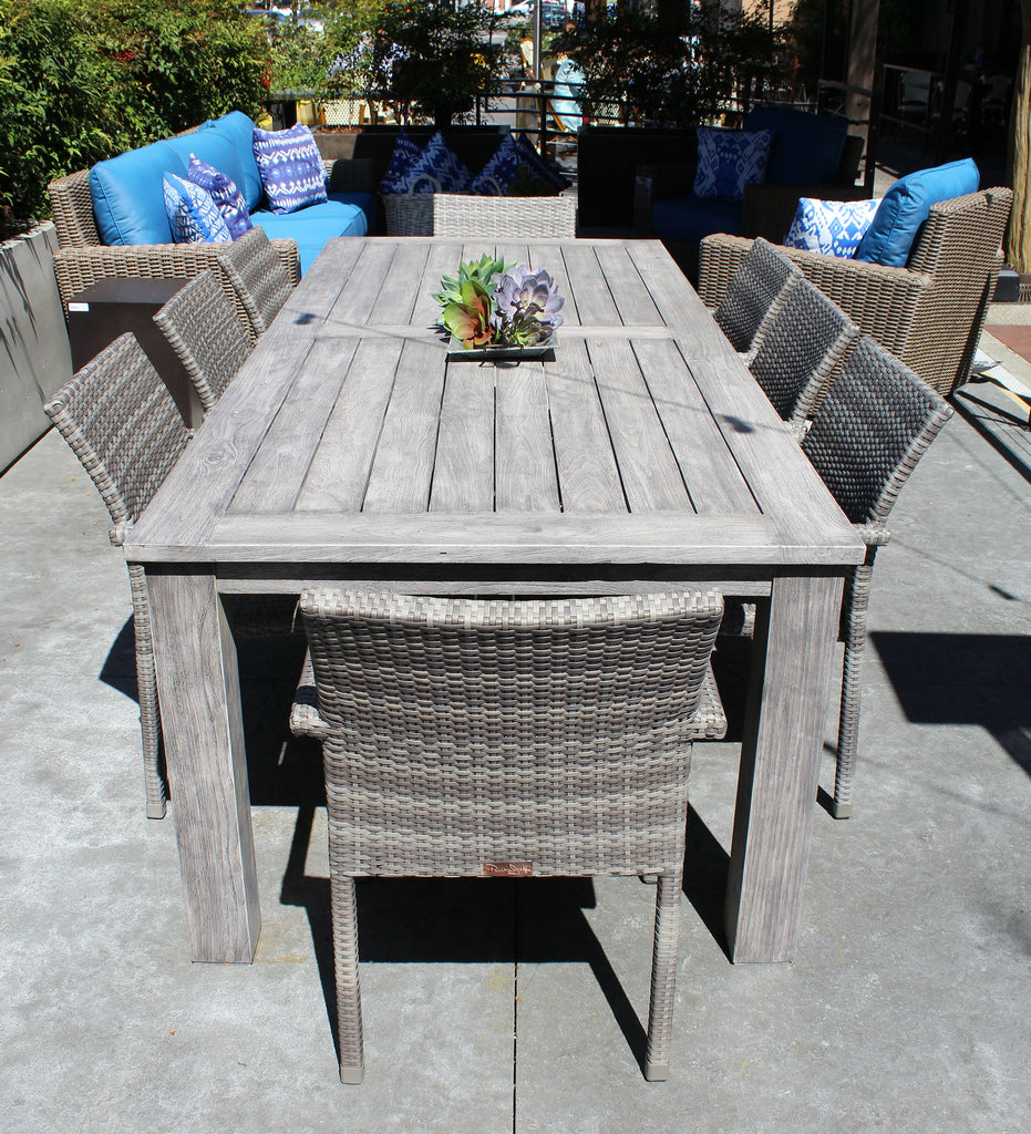our new shelby dining table is a beautiful grey teak and newport chairs are the perfect match source outdoor furniture napa bar side