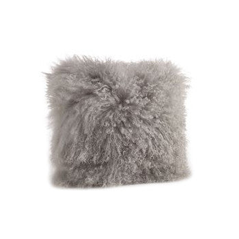 16x16 Lamb Fur Pillow - Fog