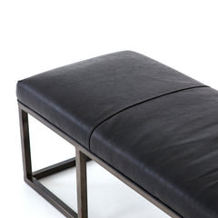 Beaumont Black Leather Bench