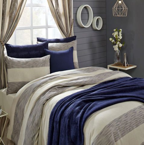 Hampton Duvet & Shams - Navy