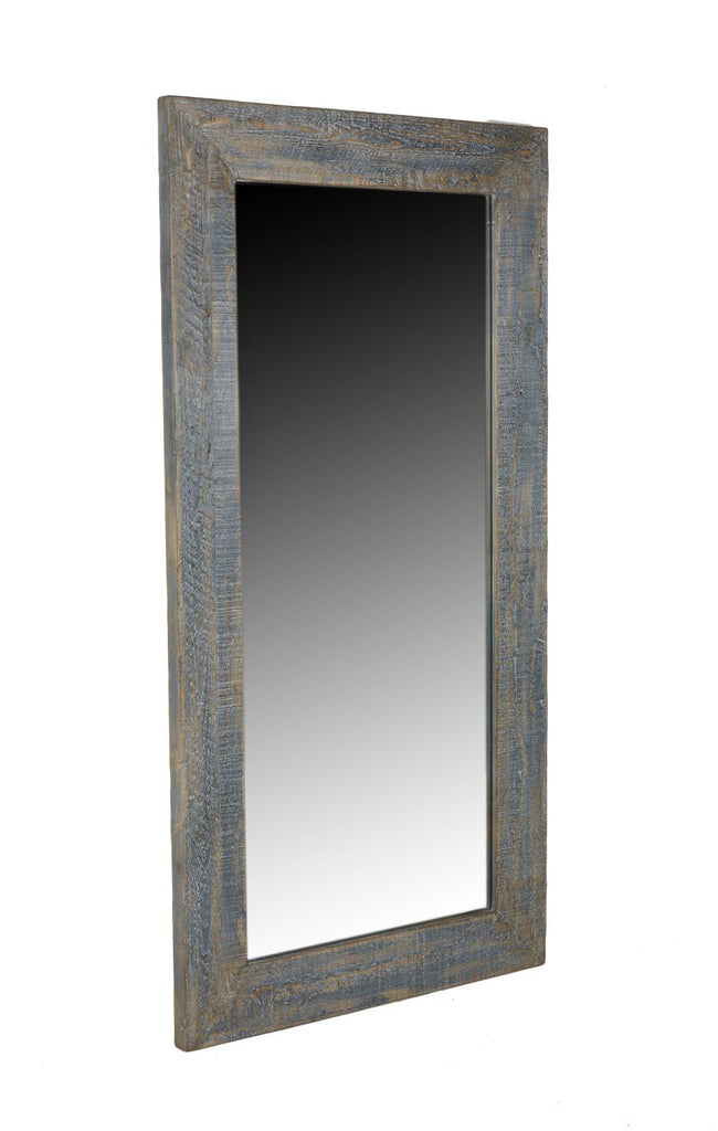 Antiqued Blue Leaner Mirror