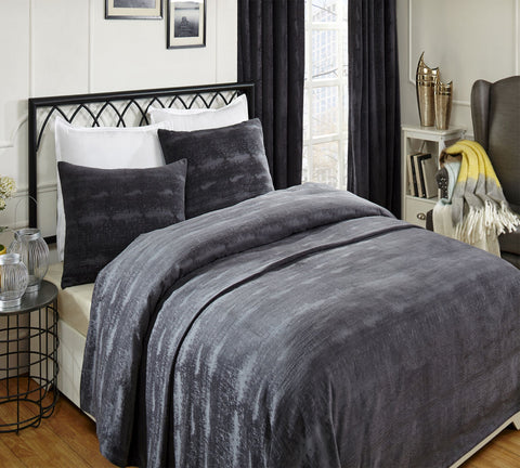 Crushed Velvet Coverlet & Shams - Black