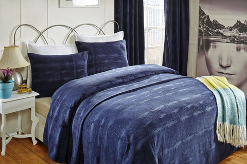 Crushed Velvet Coverlet & Shams - Navy