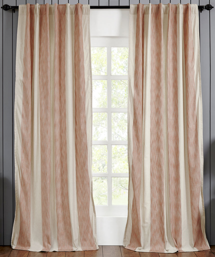 Hampton Cotton Stripes Drapery Panel - Coral