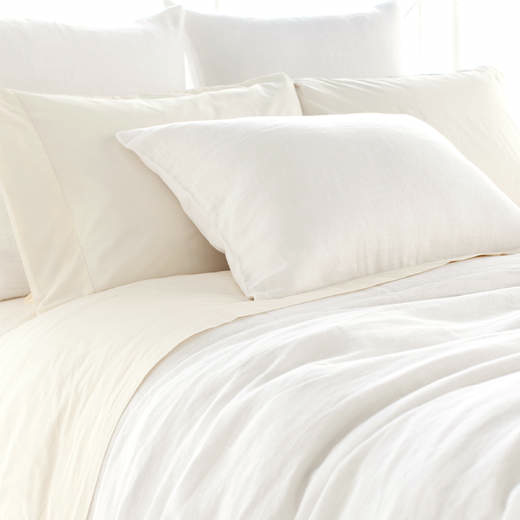 Superbe Stone Washed Linen Bedding Collection   White