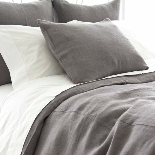 Stone Washed Linen Bedding Collection   Shale