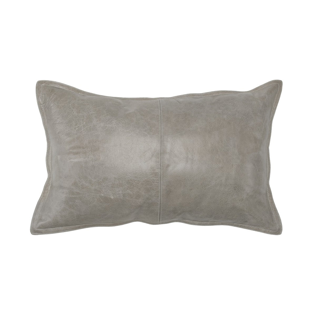 14x26 Pike Gray Leather Pillow