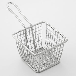 "American Metalcraft FRYS443 4"" Mini Square Tabletop Fry Basket, Stainless"