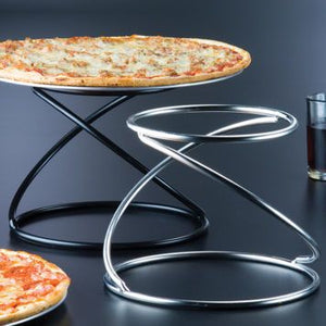 "American Metalcraft SSUS1 7"" x 7"" Contempo Stainless Steel Swirl Pizza Stand"