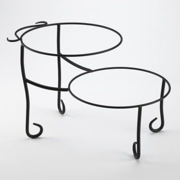 American Metalcraft TLSP1219 Ironworks Two-Tier Round Display Stand with Curled Feet