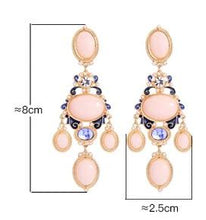 Load image into Gallery viewer, Gold Tone Sweet Pink Chandelier Crystal Drop Earrings - Luxoba