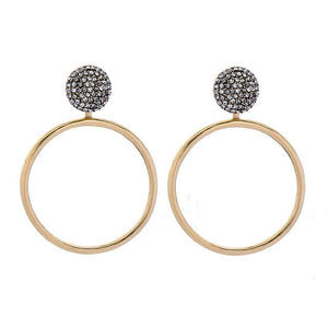 Stud Hoop Earring ( 2 in 1) Luxoba Gold Moon