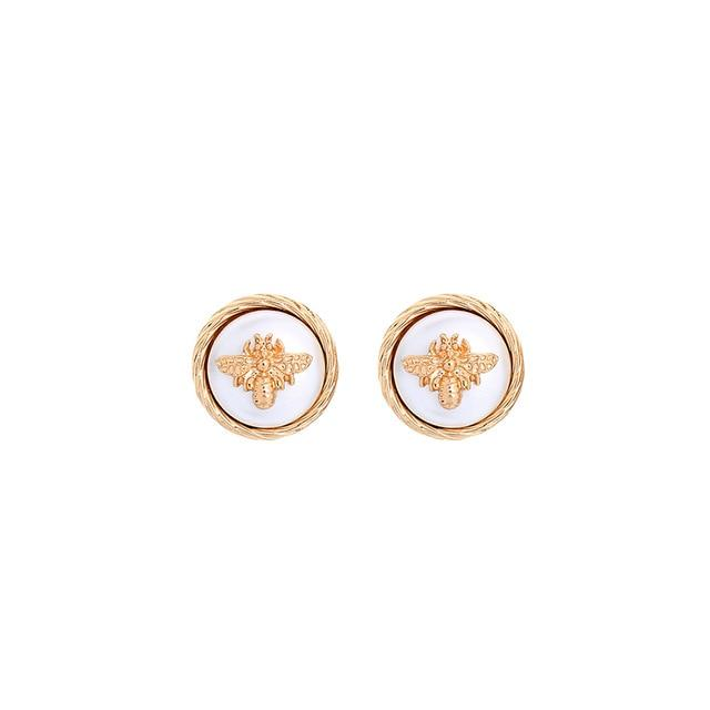 White Bee Stud Earring Luxoba