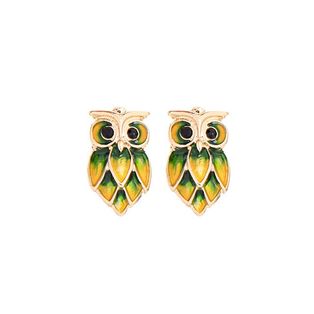 Owl Design Stud Earring Luxoba Yellow