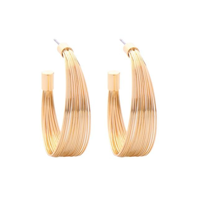 Gold Wire Semi Hoop Earring Luxoba