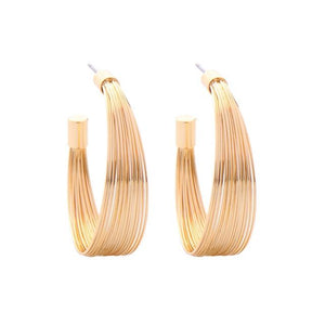 Gold Wire Semi Hoop Earring - Luxoba